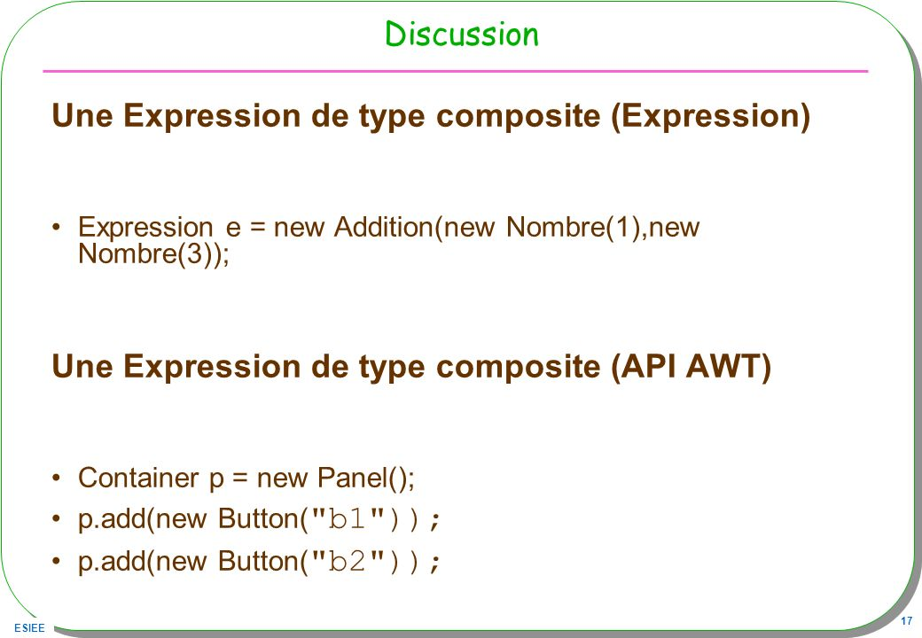 Une Expression de type composite (Expression)