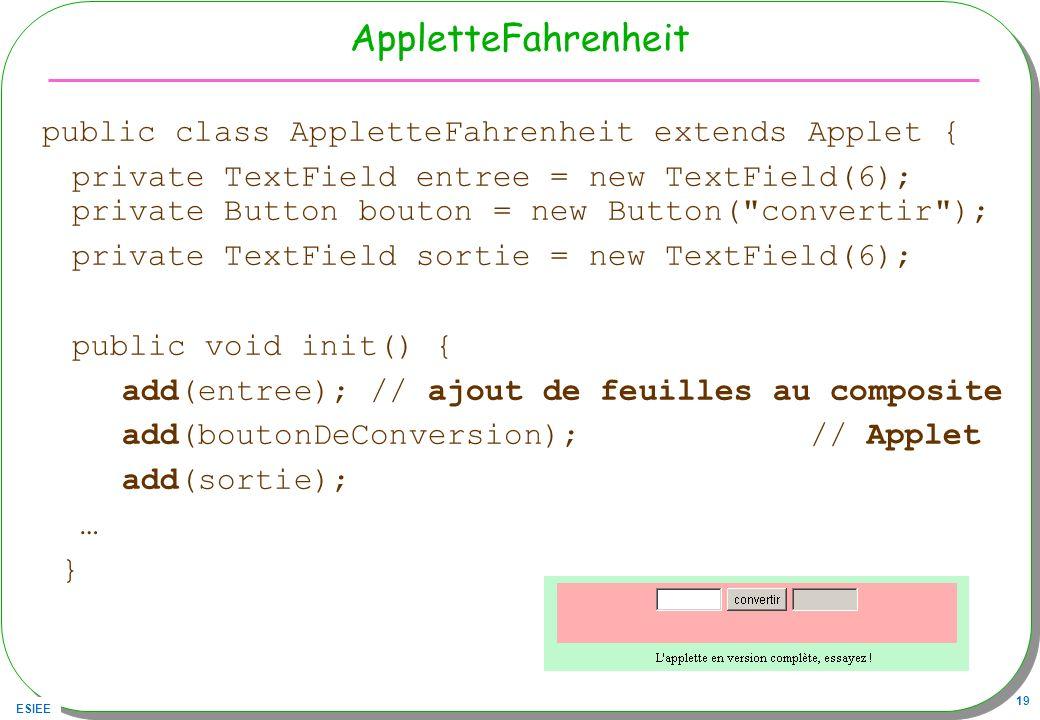 AppletteFahrenheit public class AppletteFahrenheit extends Applet {