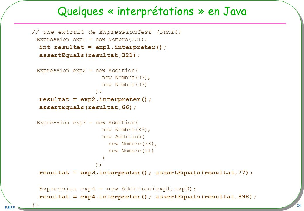 Quelques « interprétations » en Java