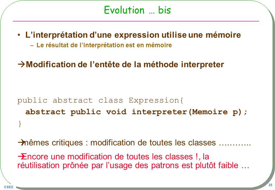 Evolution … bis L'interprétation d'une expression utilise une mémoire
