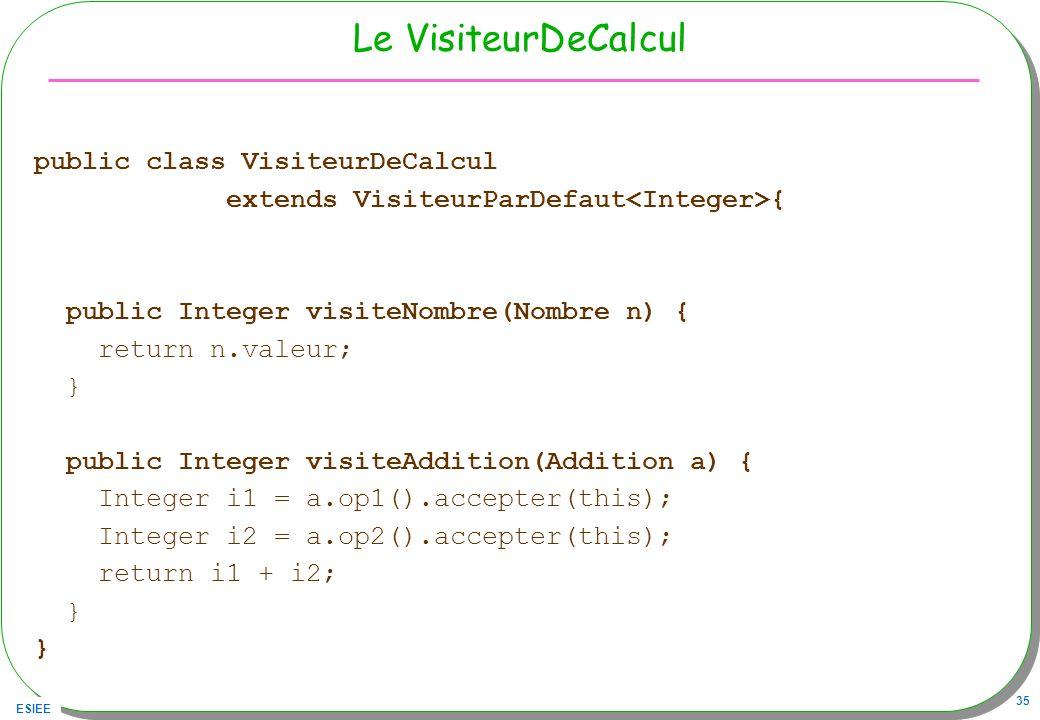Le VisiteurDeCalcul public class VisiteurDeCalcul