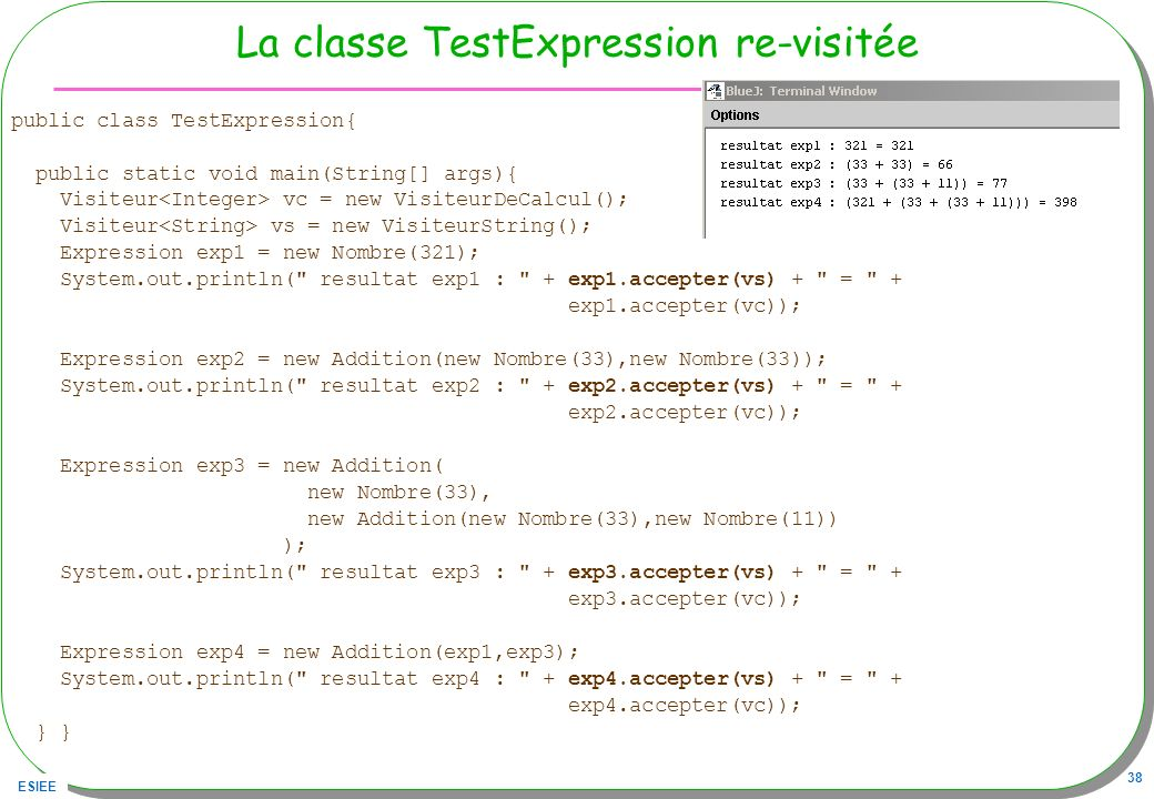 La classe TestExpression re-visitée