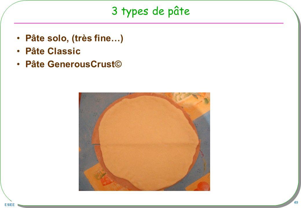 3 types de pâte Pâte solo, (très fine…) Pâte Classic