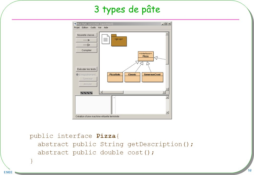 3 types de pâte public interface Pizza{