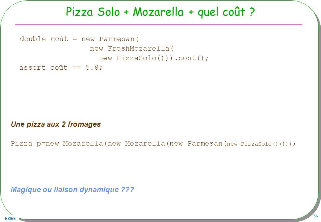 Pizza Solo + Mozarella + quel coût