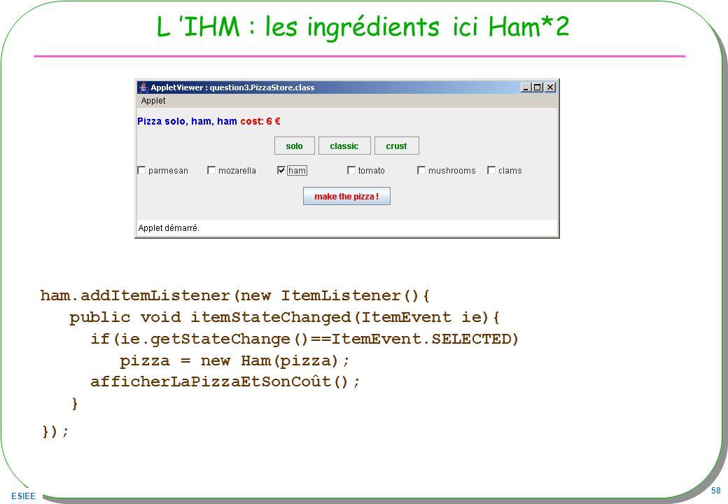 L 'IHM : les ingrédients ici Ham*2