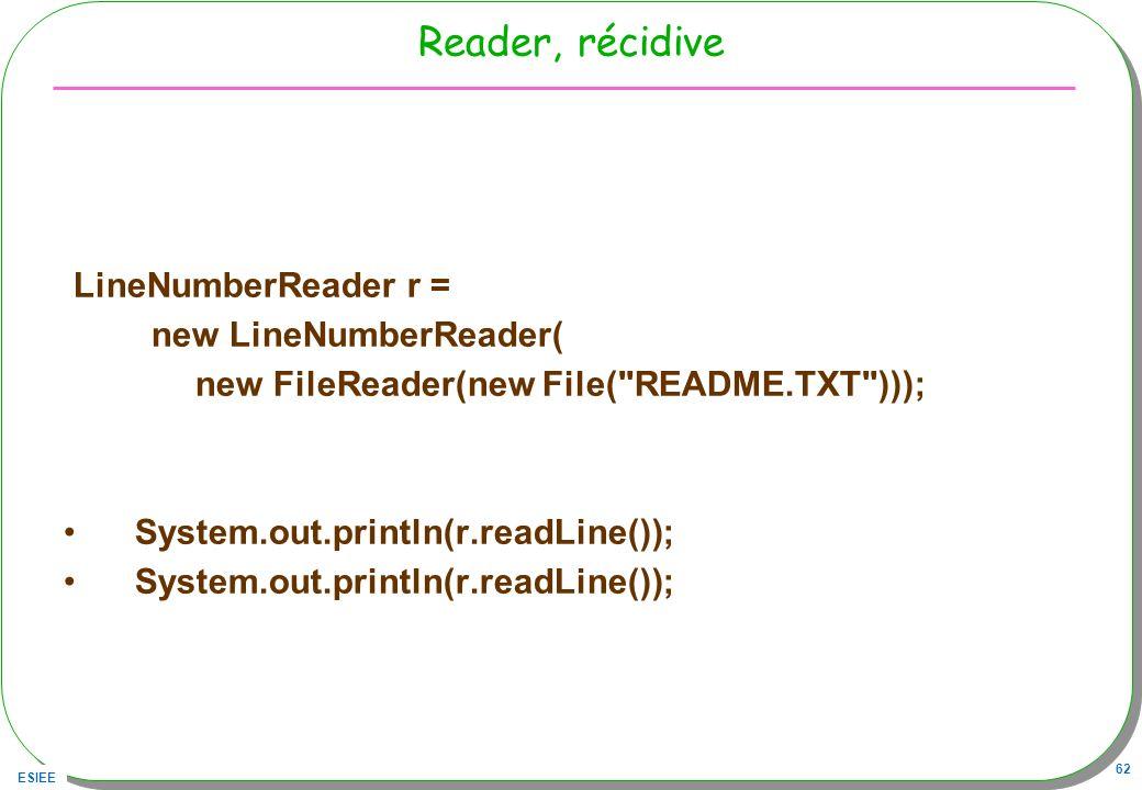 Reader, récidive LineNumberReader r = new LineNumberReader(
