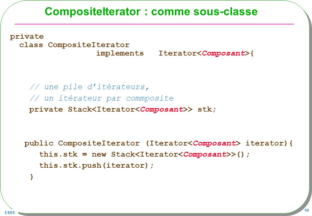 CompositeIterator : comme sous-classe