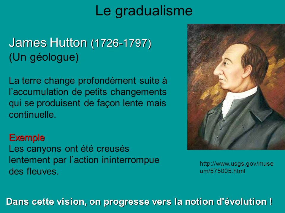 Le gradualisme James Hutton (1726-1797) (Un géologue)