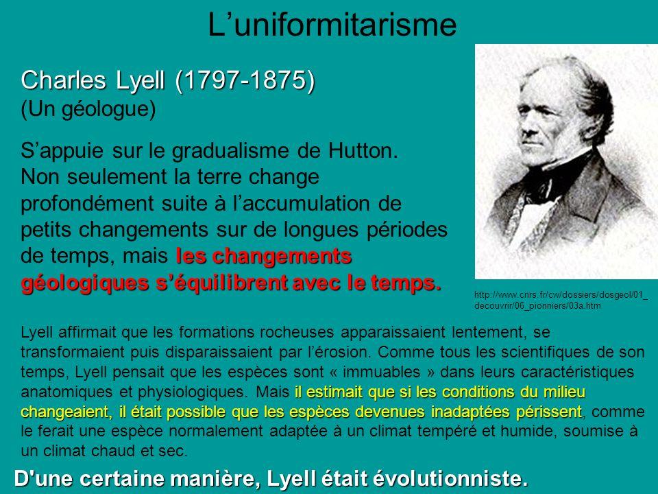 L'uniformitarisme Charles Lyell (1797-1875) (Un géologue)