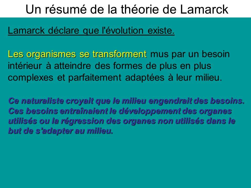 Un résumé de la théorie de Lamarck