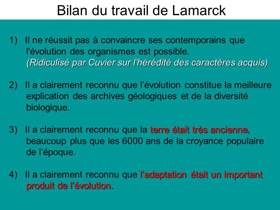 Bilan du travail de Lamarck