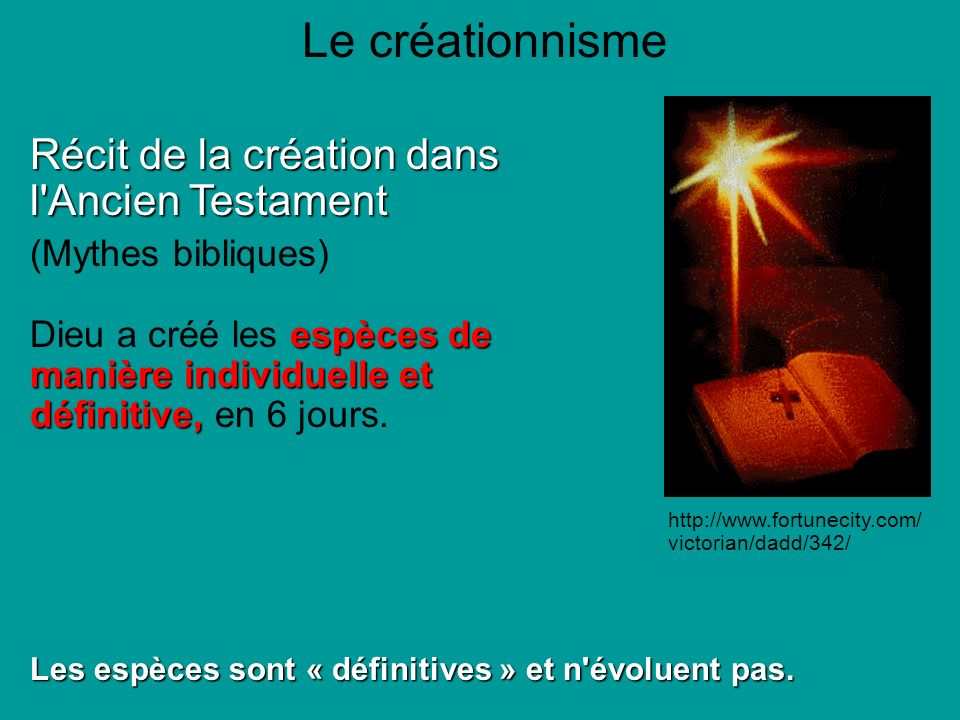 Le créationnisme Récit de la création dans l Ancien Testament
