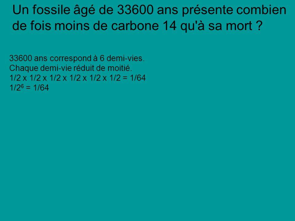 Un fossile âgé de 33600 ans présente combien de fois moins de carbone 14 qu à sa mort
