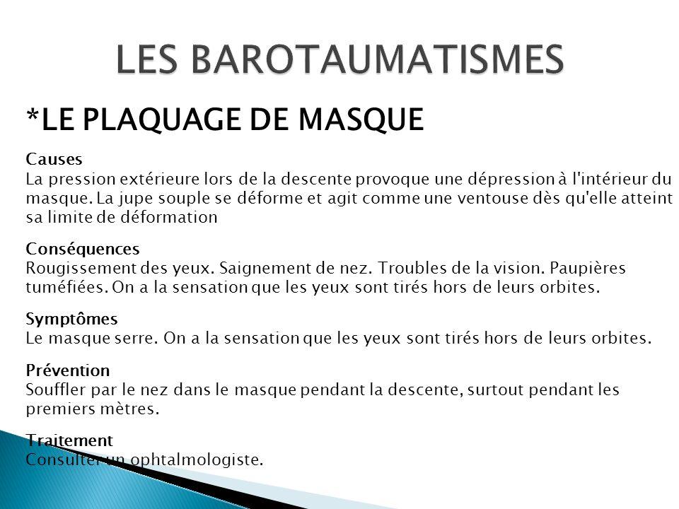 LES BAROTAUMATISMES *LE PLAQUAGE DE MASQUE Causes
