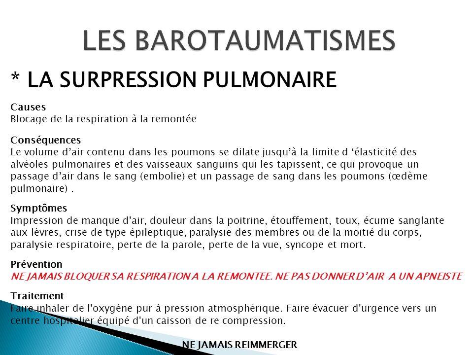 LES BAROTAUMATISMES * LA SURPRESSION PULMONAIRE Causes
