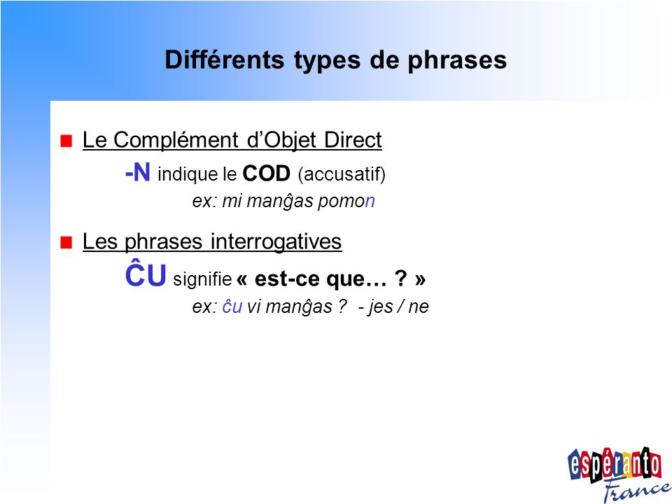 Différents types de phrases