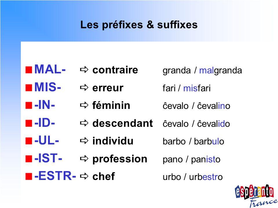 Les préfixes & suffixes