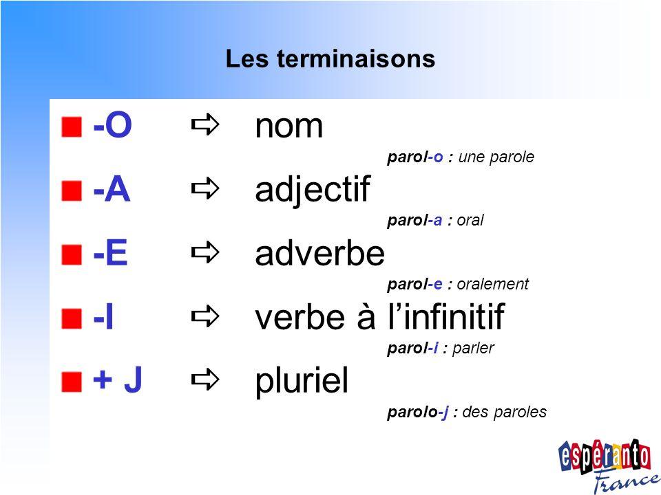 -I  verbe à l'infinitif + J  pluriel