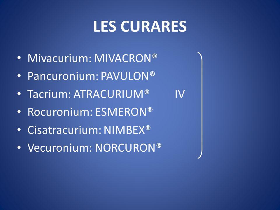LES CURARES Mivacurium: MIVACRON® Pancuronium: PAVULON®