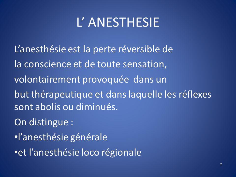 L' ANESTHESIE L'anesthésie est la perte réversible de