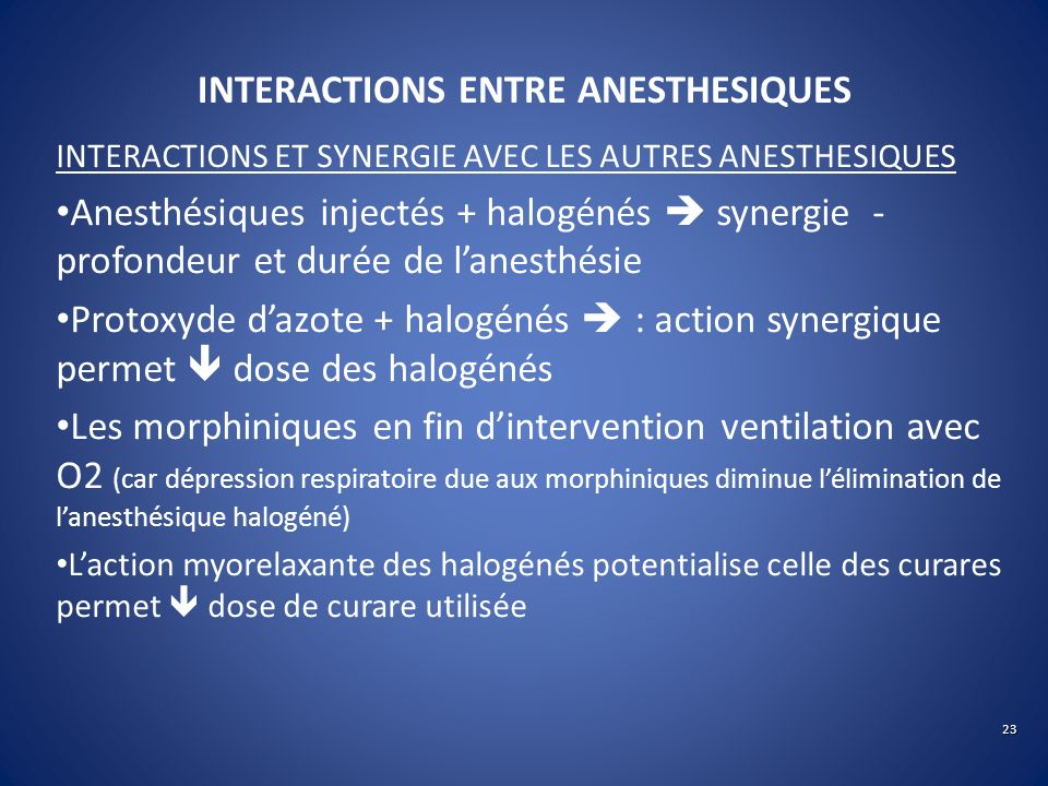 INTERACTIONS ENTRE ANESTHESIQUES