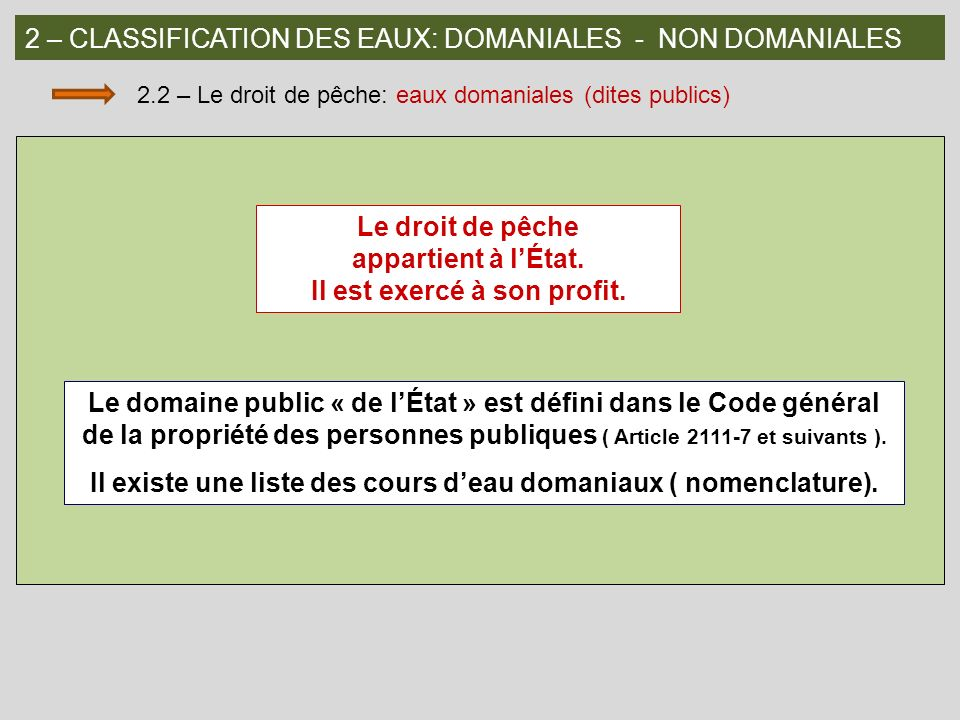 2 – CLASSIFICATION DES EAUX: DOMANIALES - NON DOMANIALES