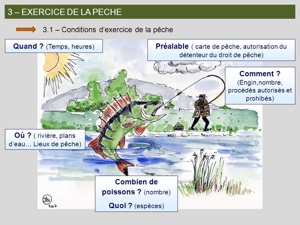 3 – EXERCICE DE LA PECHE 3.1 – Conditions d'exercice de la pêche