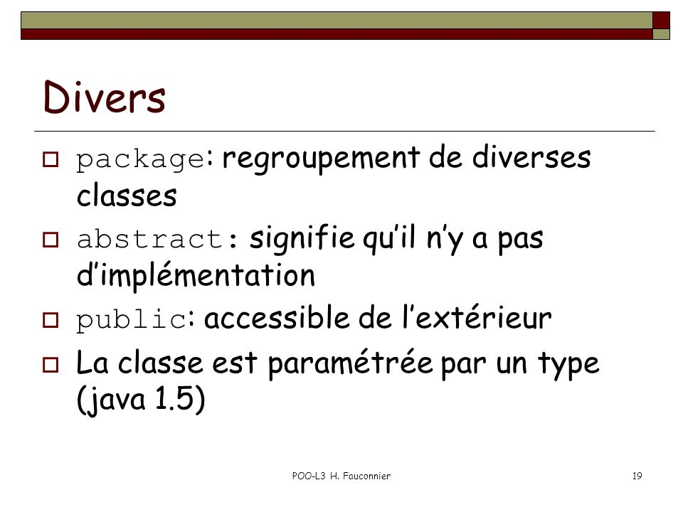 Divers package: regroupement de diverses classes