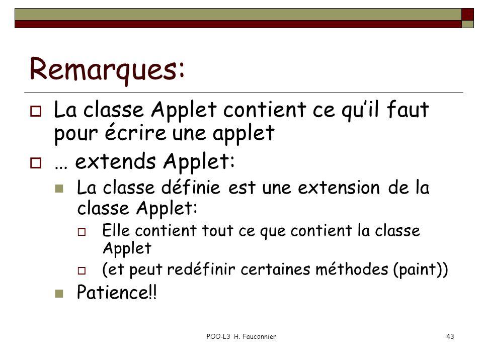 Remarques: La classe Applet contient ce qu'il faut pour écrire une applet. … extends Applet: