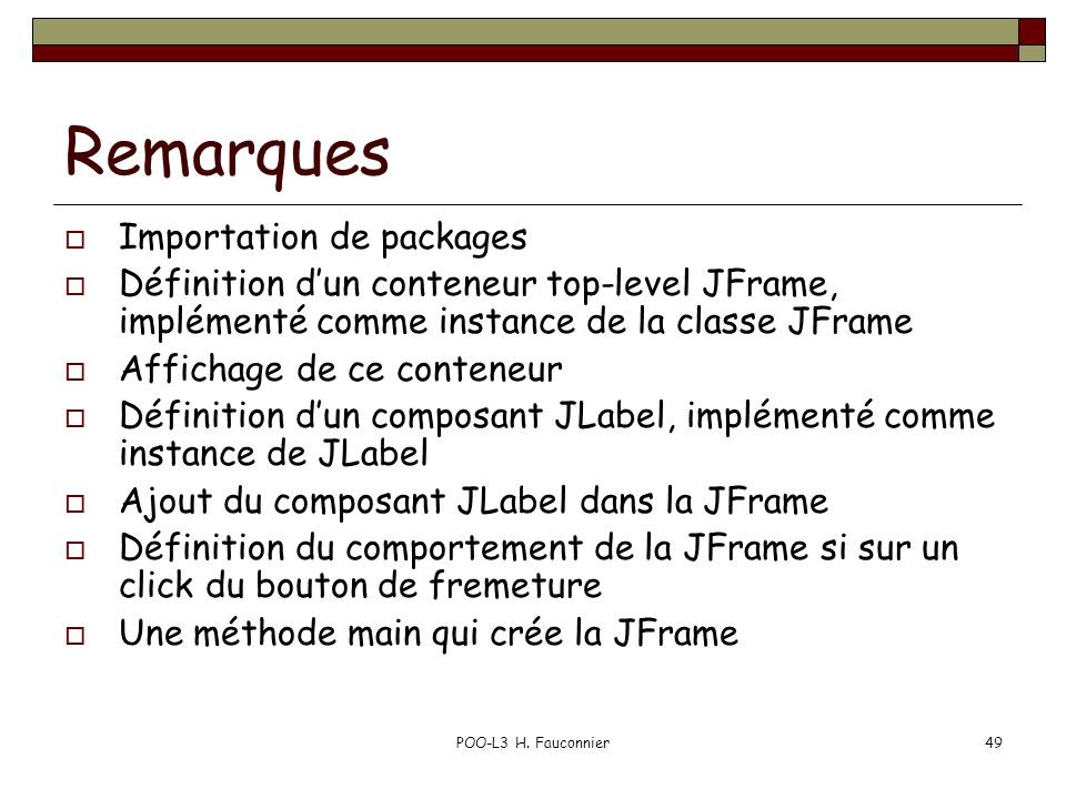 Remarques Importation de packages
