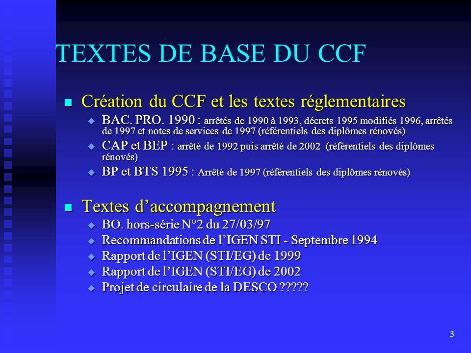 TEXTES DE BASE DU CCF Création du CCF et les textes réglementaires