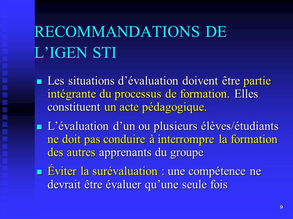 RECOMMANDATIONS DE L'IGEN STI