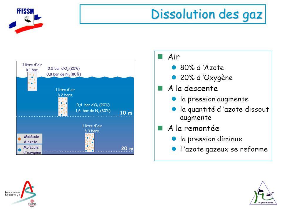 Dissolution des gaz Air A la descente A la remontée 80% d 'Azote