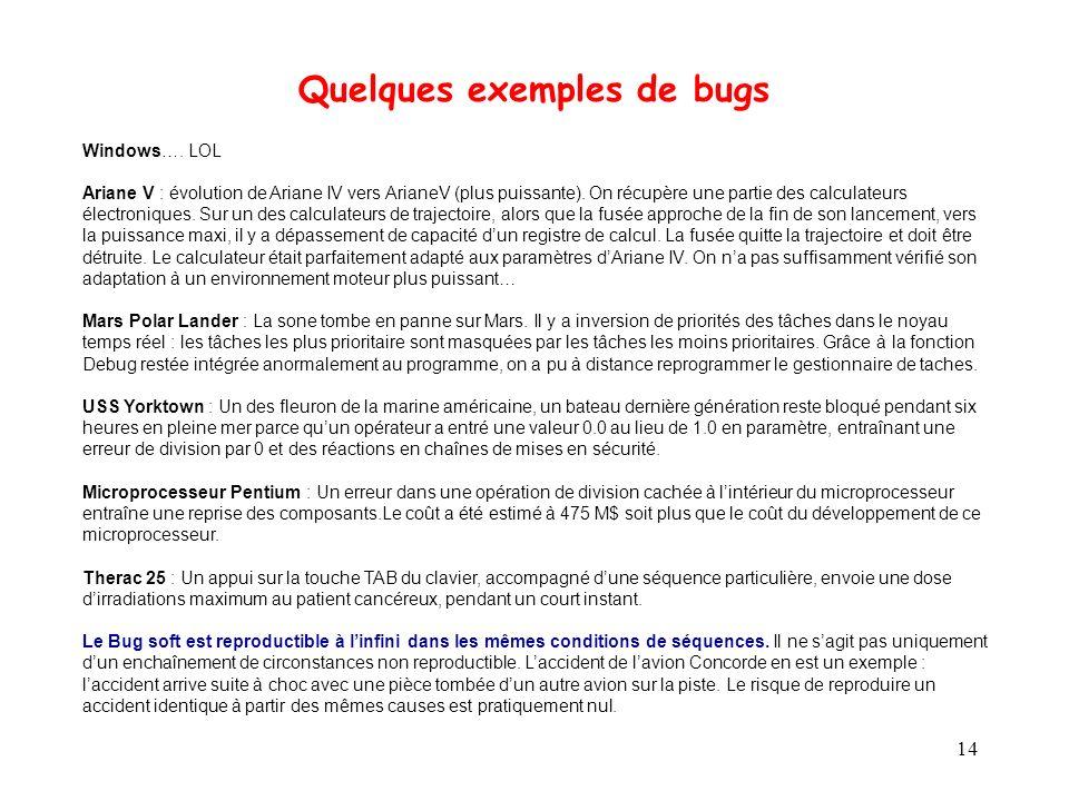 Quelques exemples de bugs