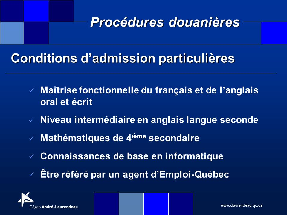 Conditions d'admission particulières