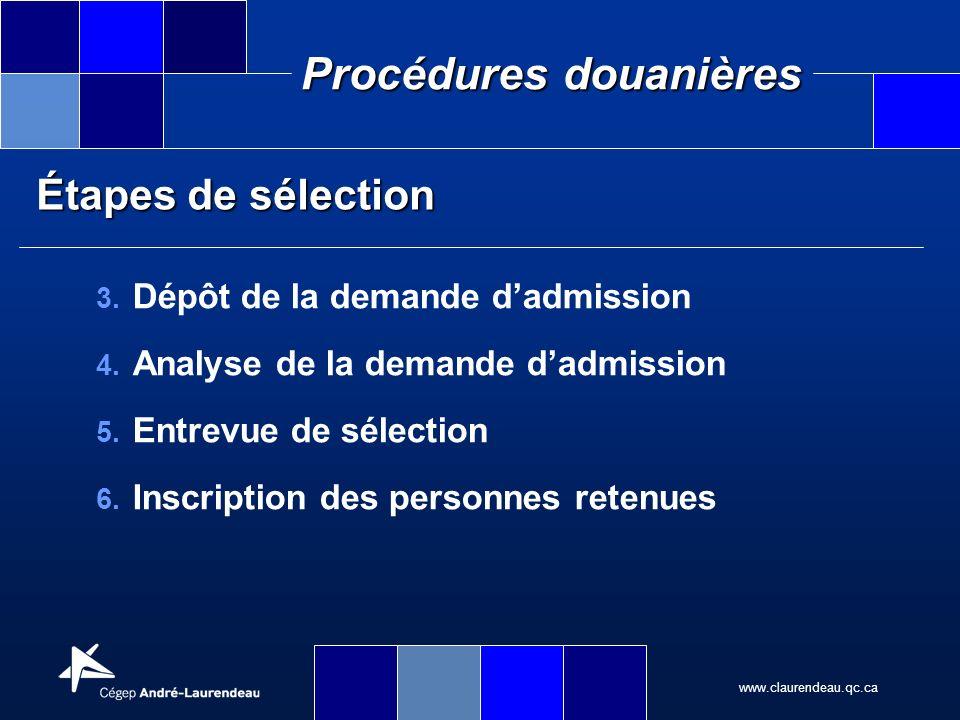 Étapes de sélection Dépôt de la demande d'admission