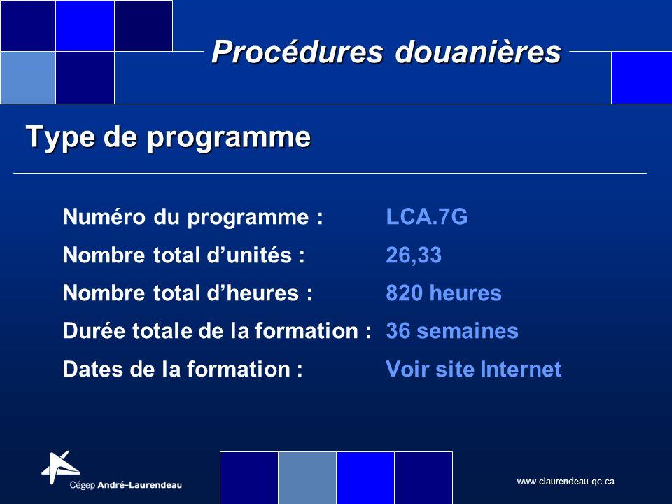 Type de programme Numéro du programme : LCA.7G