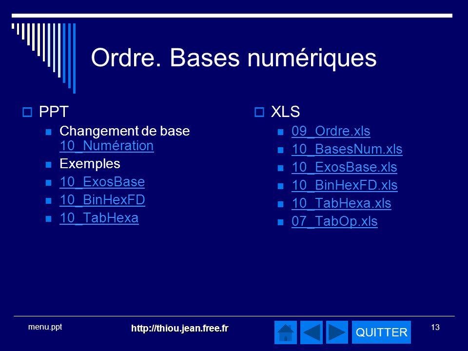 Ordre. Bases numériques