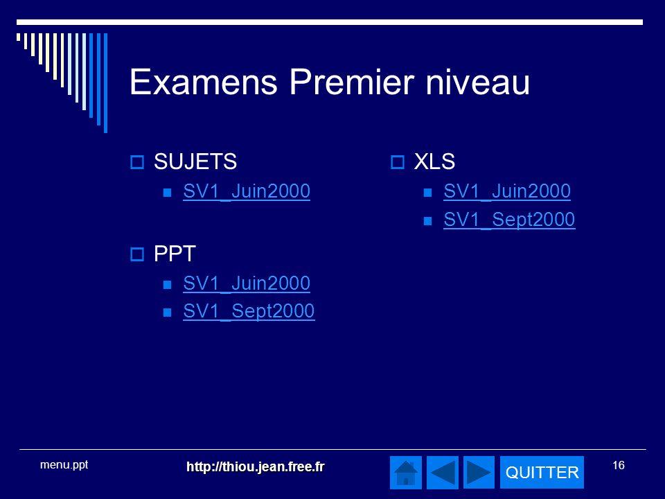 Examens Premier niveau