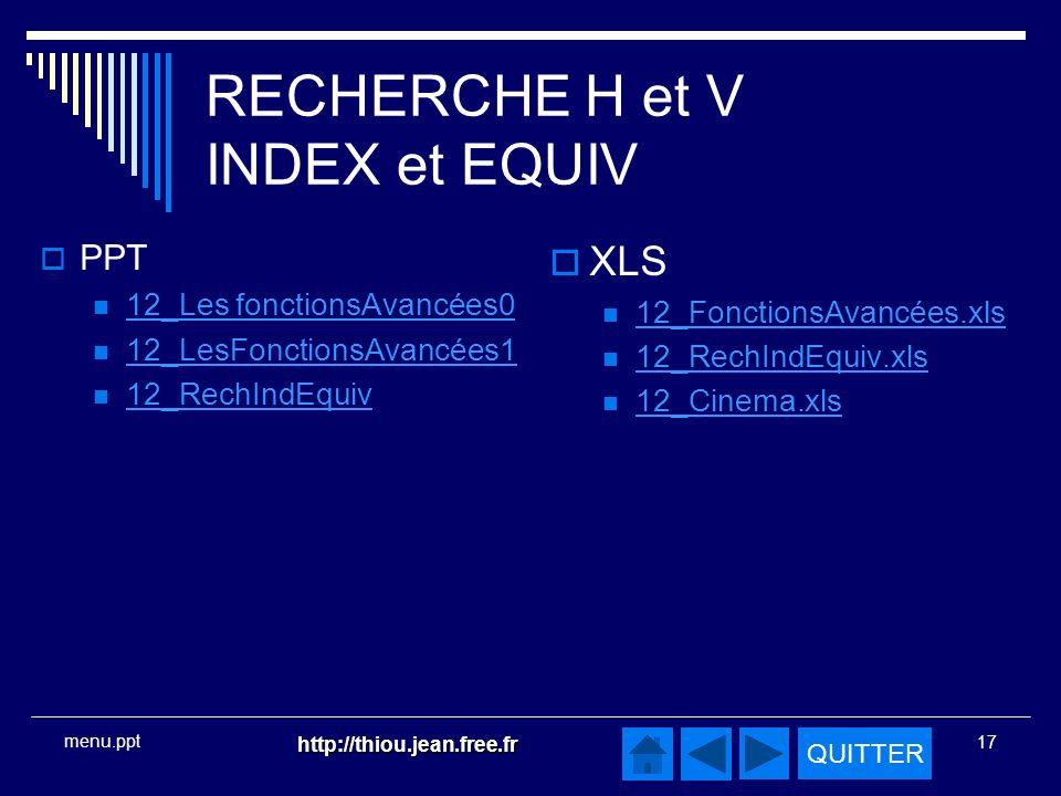 RECHERCHE H et V INDEX et EQUIV