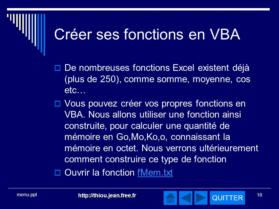 Créer ses fonctions en VBA