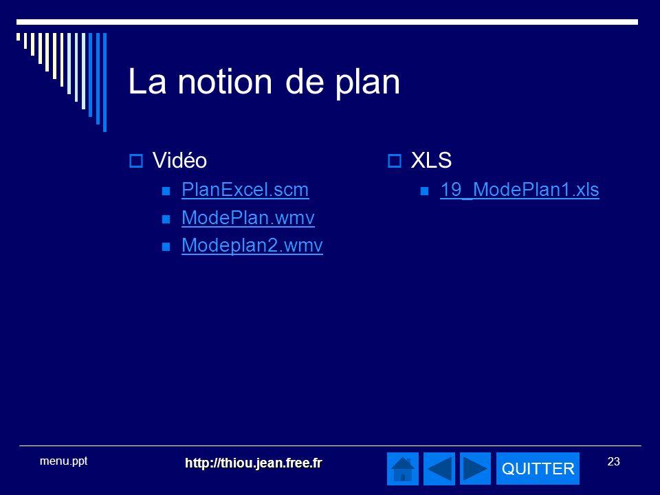 La notion de plan Vidéo XLS PlanExcel.scm ModePlan.wmv Modeplan2.wmv