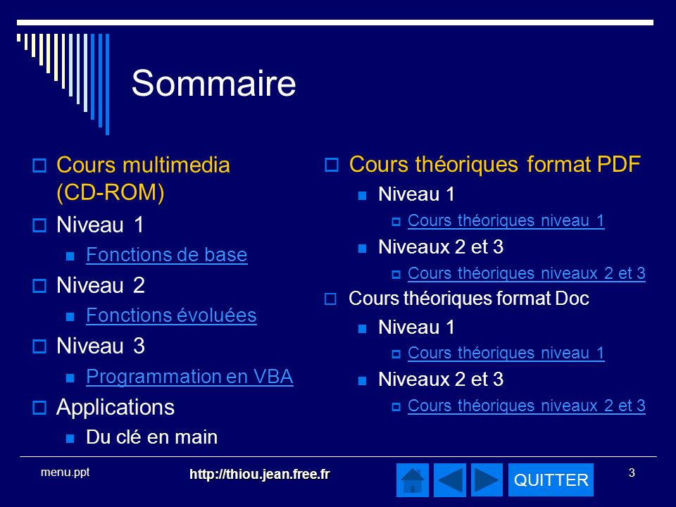 Sommaire Cours multimedia (CD-ROM) Cours théoriques format PDF