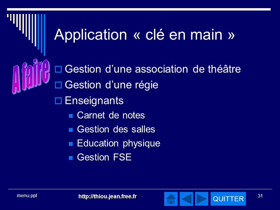 Application « clé en main »