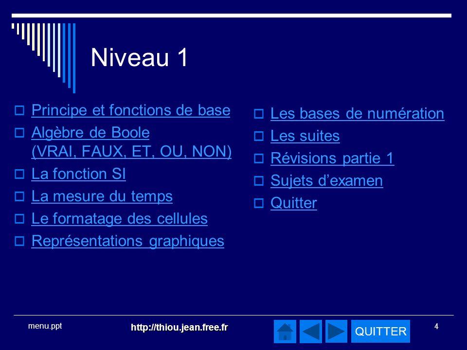 Niveau 1 Principe et fonctions de base Les bases de numération