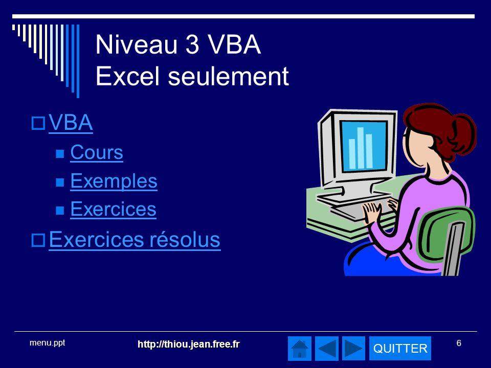 Niveau 3 VBA Excel seulement