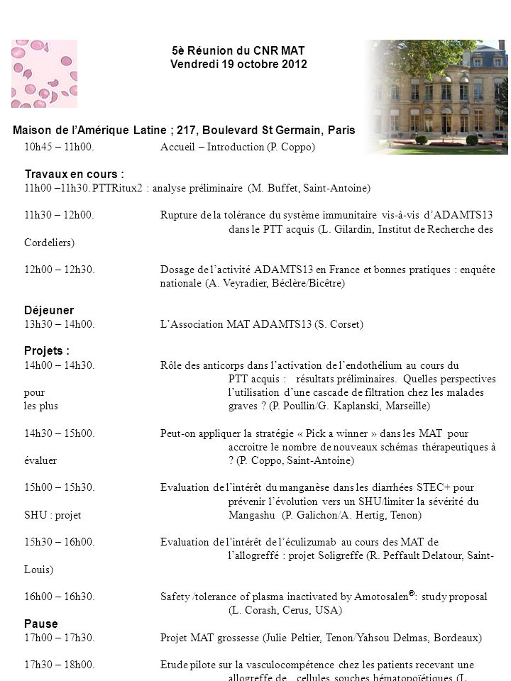 5è Réunion du CNR MAT Vendredi 19 octobre 2012. Maison de l'Amérique Latine ; 217, Boulevard St Germain, Paris.