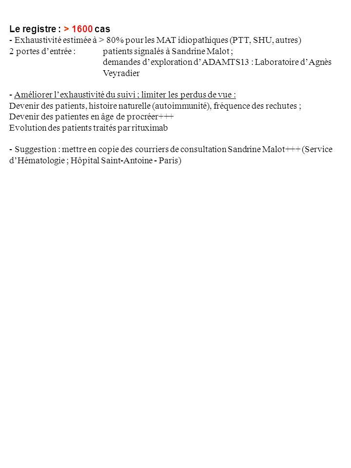 Le registre : > 1600 cas - Exhaustivité estimée à > 80% pour les MAT idiopathiques (PTT, SHU, autres)