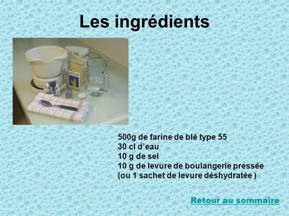 Les ingrédients 500g de farine de blé type 55 30 cl d'eau 10 g de sel
